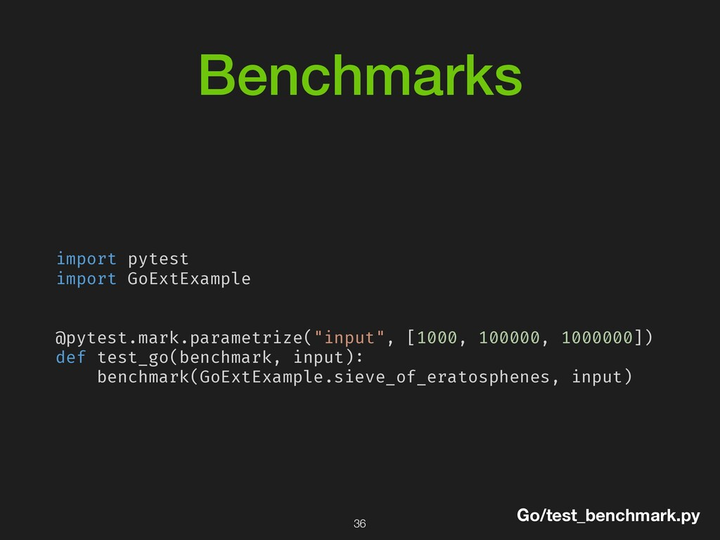Benchmarks import pytest import GoExtExample @p...