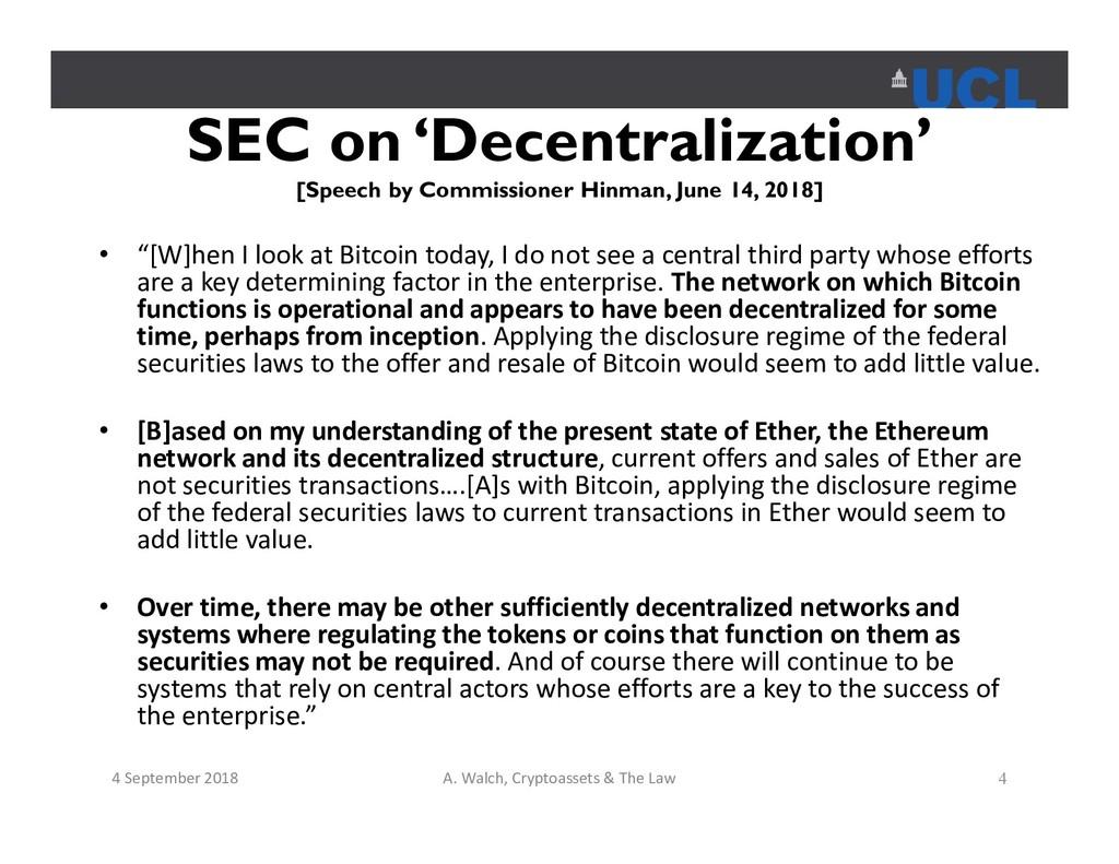 SEC on 'Decentralization' [Speech by Commission...