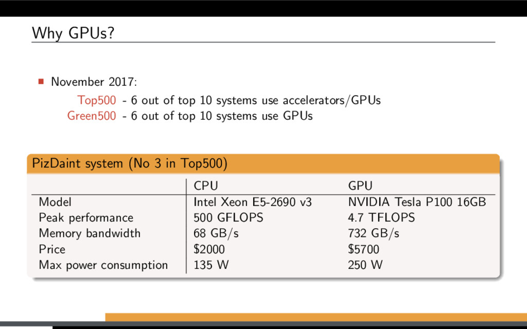 Why GPUs? November 2017: Top500 - 6 out of top ...