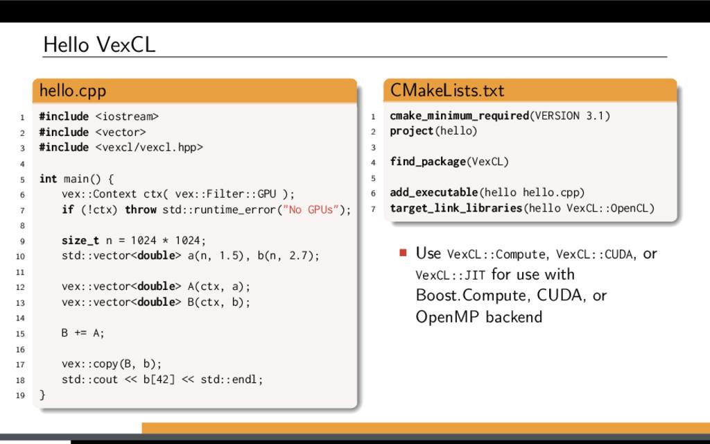 Hello VexCL hello.cpp 1 #include <iostream> 2 #...
