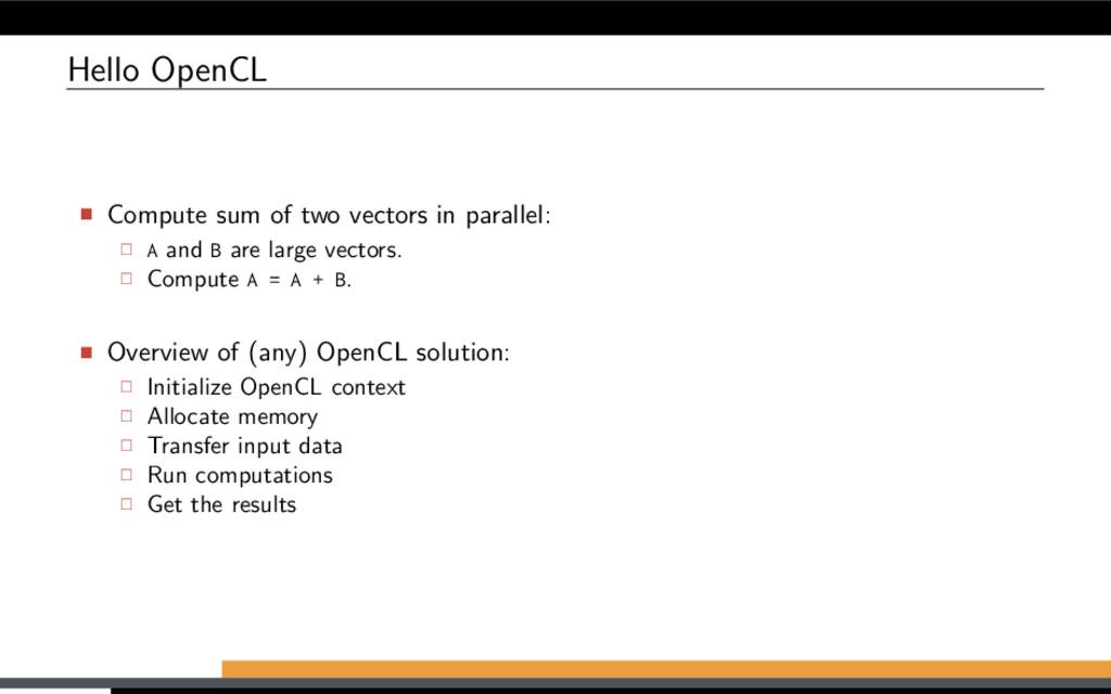 Hello OpenCL Compute sum of two vectors in para...
