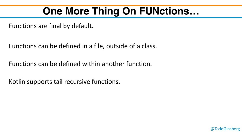 @ToddGinsberg One More Thing On FUNctions… Func...