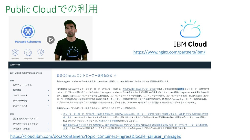 Public Cloudでの利用 https://cloud.ibm.com/docs/con...