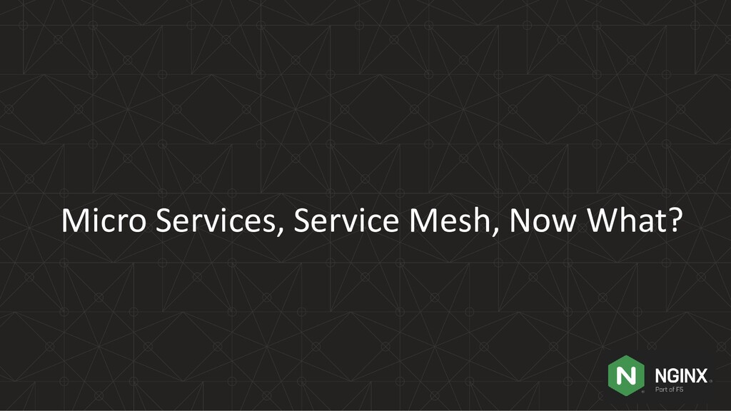 Micro Services, Service Mesh, Now What?