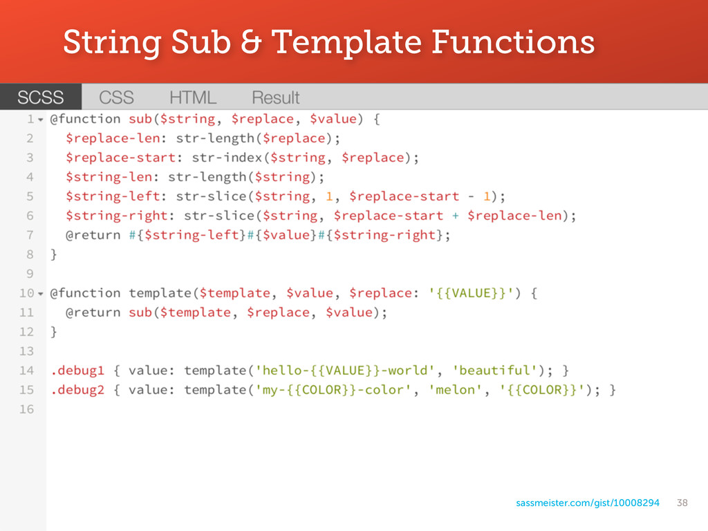 38 String Sub & Template Functions sassmeister....