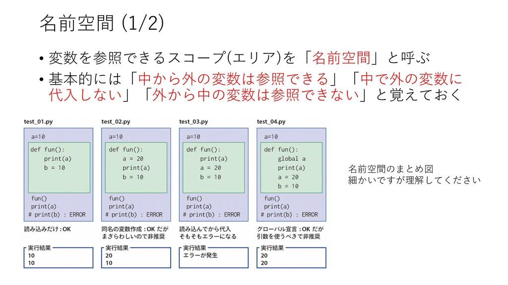 名前空間 (1/2) • 変数を参照できるスコープ(エリア)を「名前空間」と呼ぶ • 基本的に...
