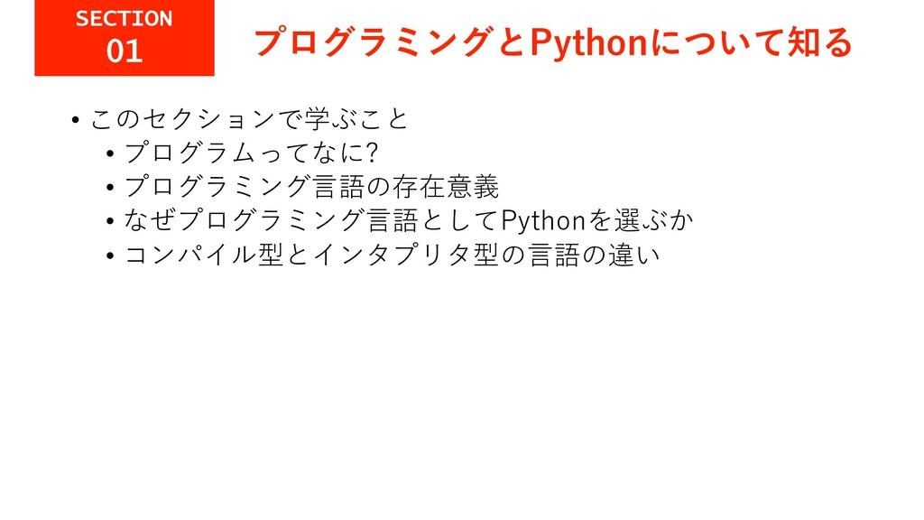 プログラミングとPythonについて知る • このセクションで学ぶこと • プログラムってなに...