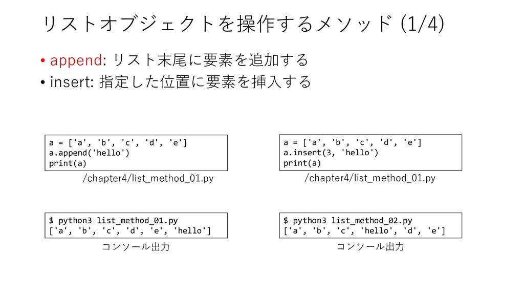 リストオブジェクトを操作するメソッド (1/4) • append: リスト末尾に要素を追加す...