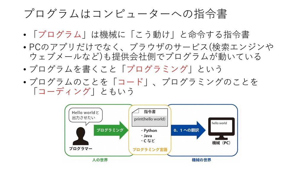プログラムはコンピューターへの指令書 • 「プログラム」は機械に「こう動け」と命令する指令書 ...