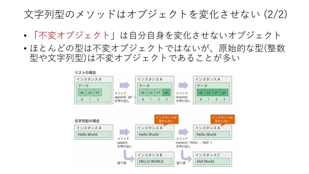 ⽂字列型のメソッドはオブジェクトを変化させない (2/2) • 「不変オブジェクト」は⾃分⾃⾝...