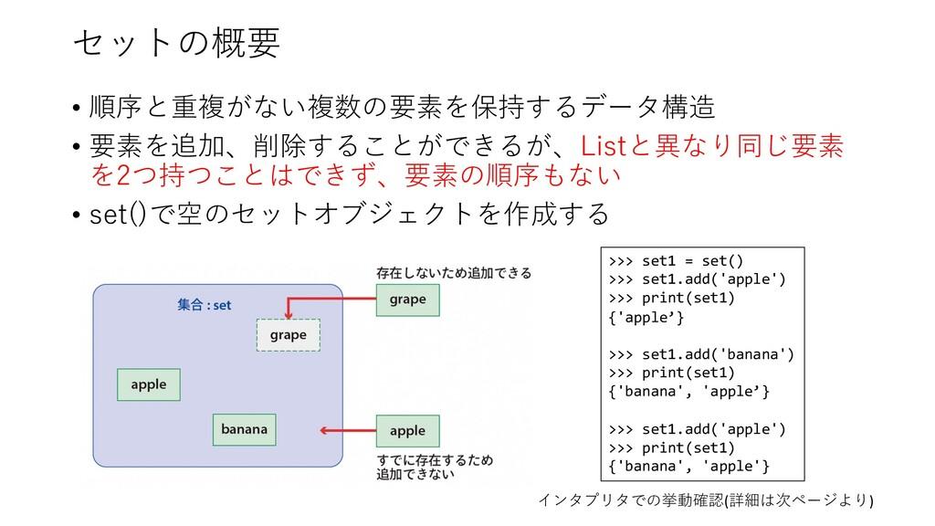 セットの概要 • 順序と重複がない複数の要素を保持するデータ構造 • 要素を追加、削除すること...