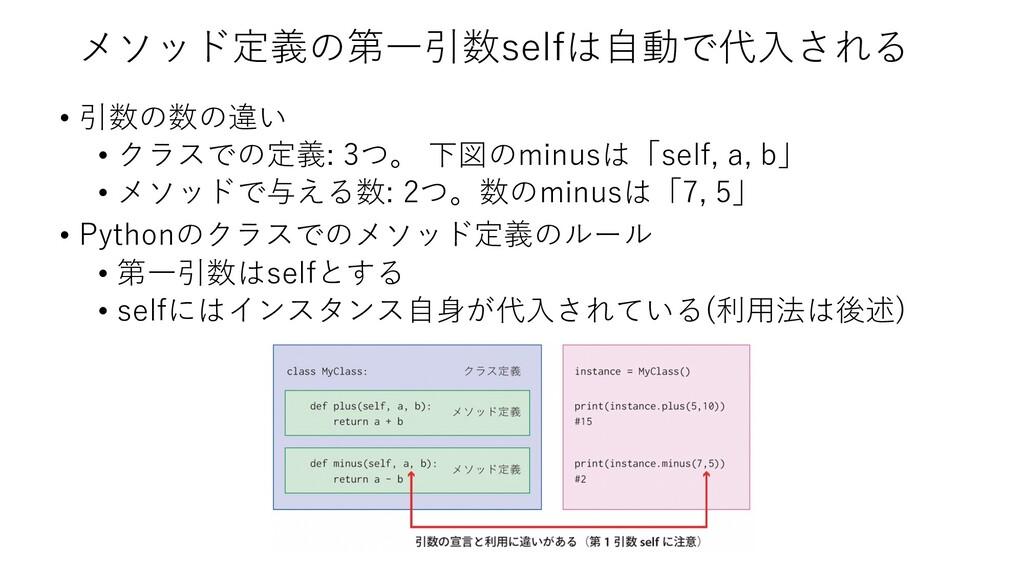 メソッド定義の第⼀引数selfは⾃動で代⼊される • 引数の数の違い • クラスでの定義: 3...