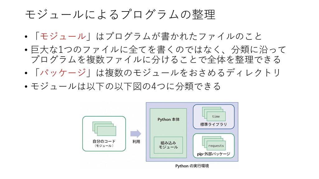 モジュールによるプログラムの整理 • 「モジュール」はプログラムが書かれたファイルのこと • ...