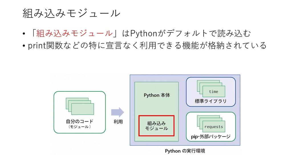 組み込みモジュール • 「組み込みモジュール」はPythonがデフォルトで読み込む • pri...