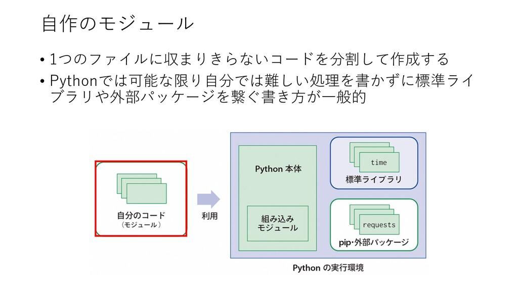 ⾃作のモジュール • 1つのファイルに収まりきらないコードを分割して作成する • Python...