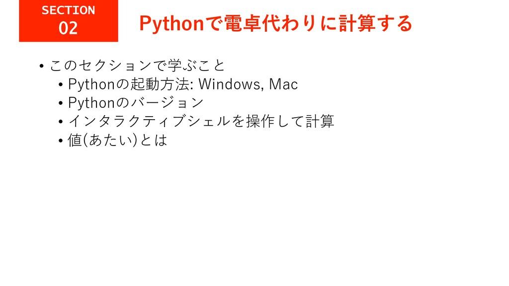 Pythonで電卓代わりに計算する • このセクションで学ぶこと • Pythonの起動⽅法:...