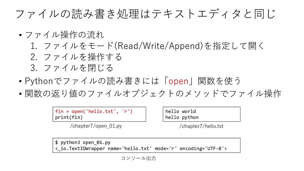 ファイルの読み書き処理はテキストエディタと同じ • ファイル操作の流れ 1. ファイルをモード...