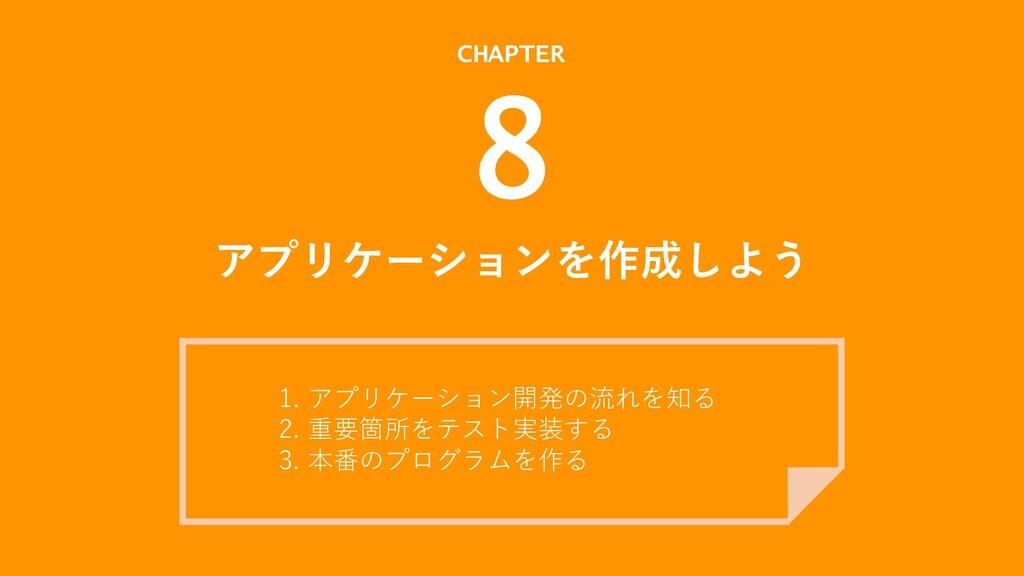 アプリケーションを作成しよう CHAPTER 8 1. アプリケーション開発の流れを知る 2....