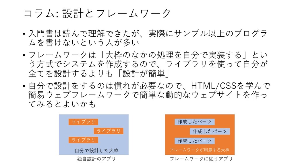 コラム: 設計とフレームワーク • ⼊⾨書は読んで理解できたが、実際にサンプル以上のプログラ ...