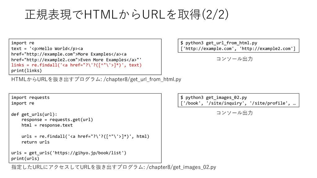 正規表現でHTMLからURLを取得(2/2) import re text = '<p>Hel...