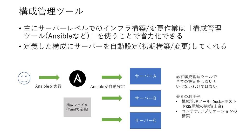 構成管理ツール • 主にサーバーレベルでのインフラ構築/変更作業は「構成管理 ツール(Ansi...