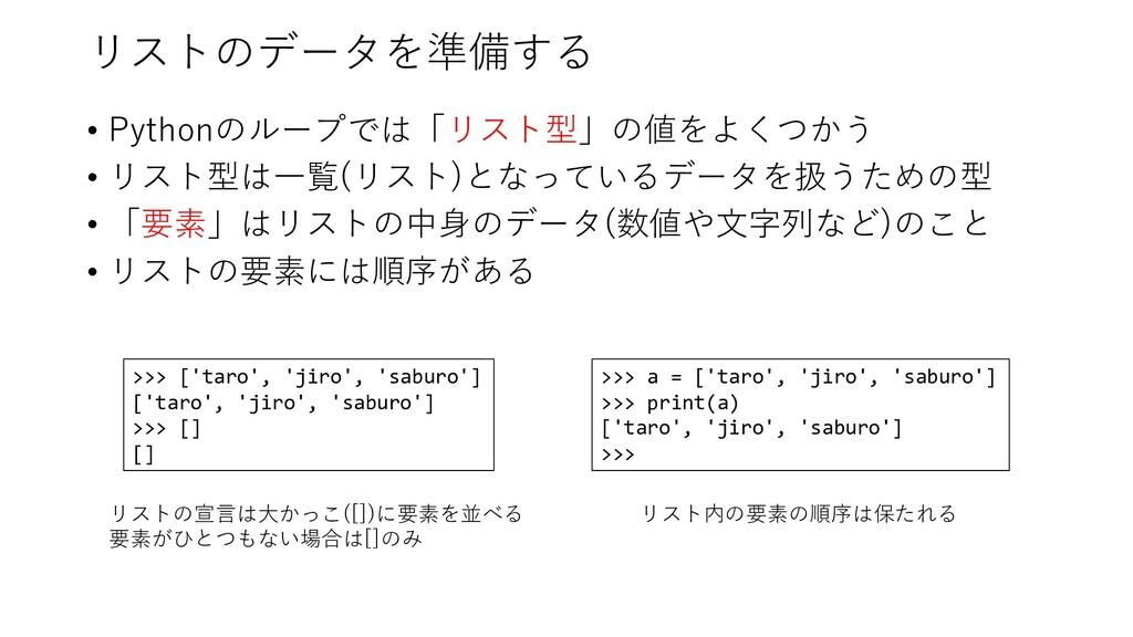 リストのデータを準備する • Pythonのループでは「リスト型」の値をよくつかう • リスト...
