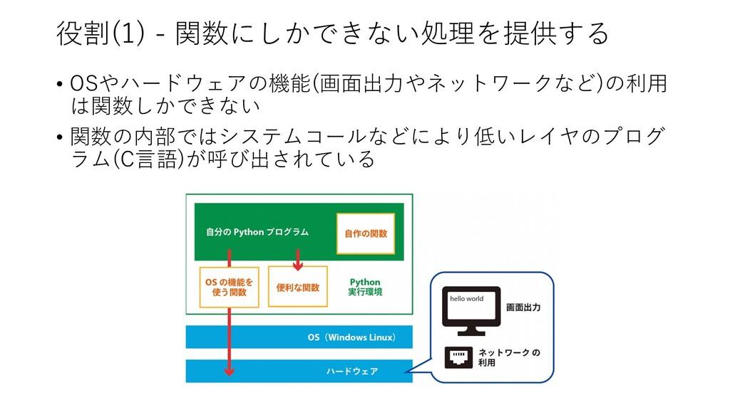 役割(1) - 関数にしかできない処理を提供する • OSやハードウェアの機能(画⾯出⼒やネッ...