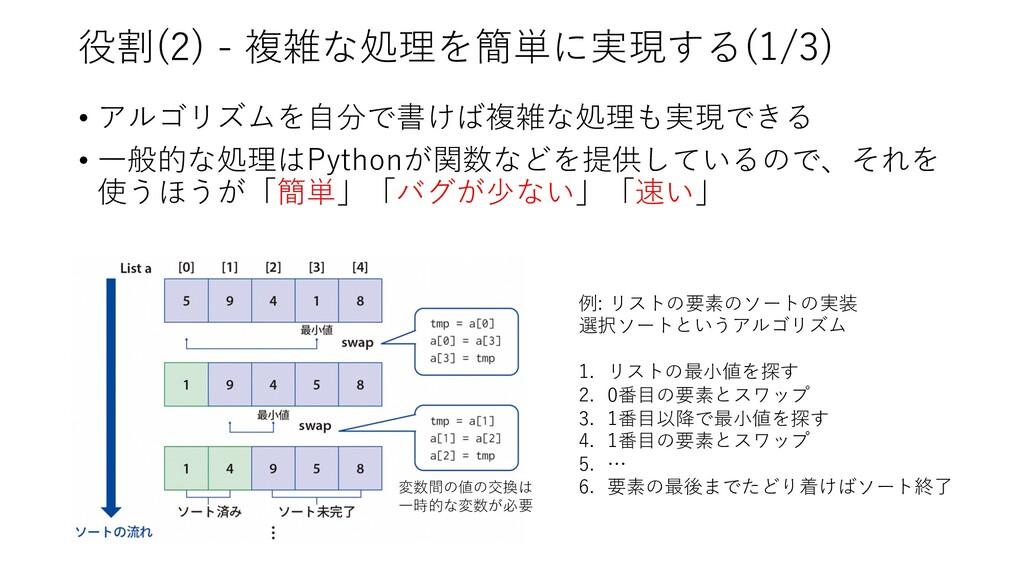 役割(2) - 複雑な処理を簡単に実現する(1/3) • アルゴリズムを⾃分で書けば複雑な処理...