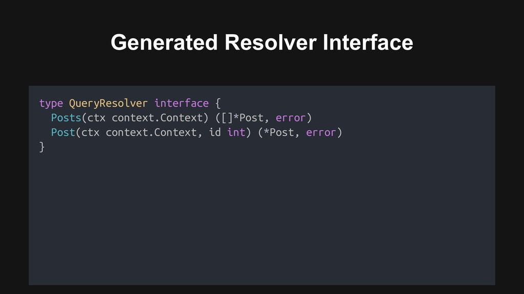 Generated Resolver Interface Resolver Interface...