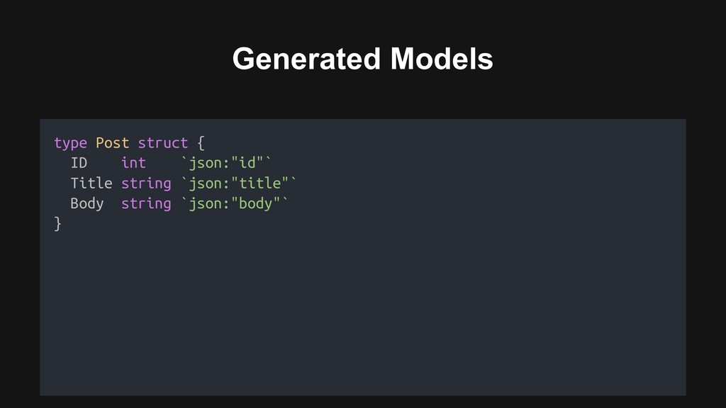 Generated Models Generated models type Post str...