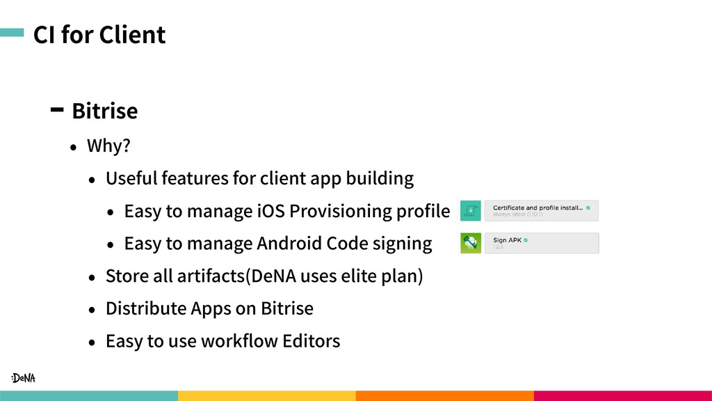 CI for Client Bitrise • Why? • Useful features ...