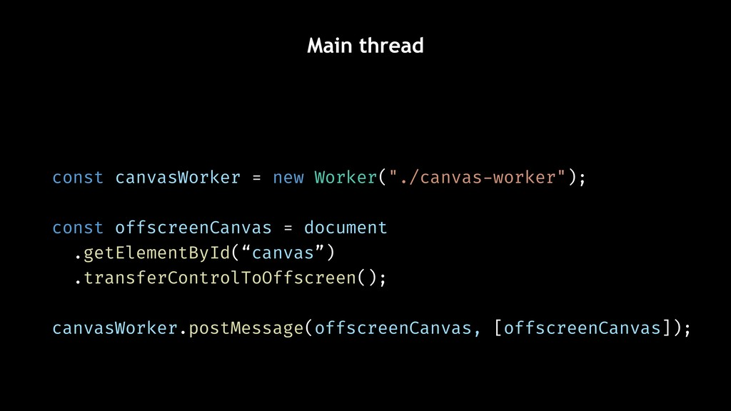 "Main thread const canvasWorker = new Worker(""./..."