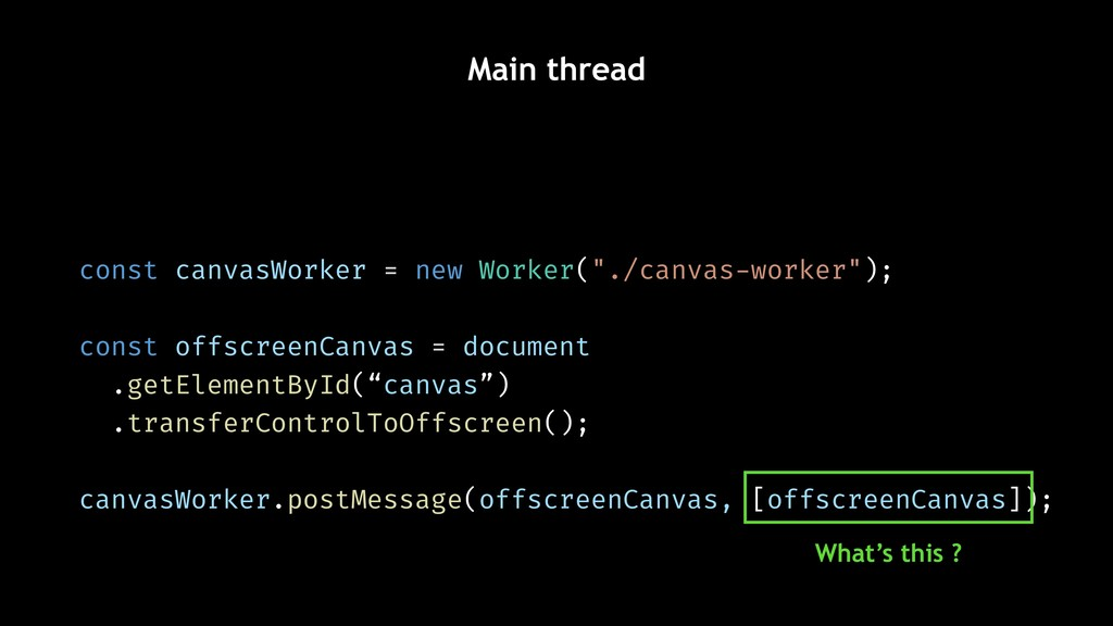 Main thread What's this ? const canvasWorker = ...