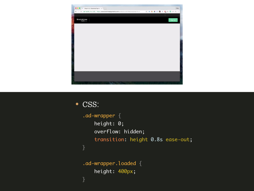 • CSS: .ad-wrapper { height: 0; overflow: hi...