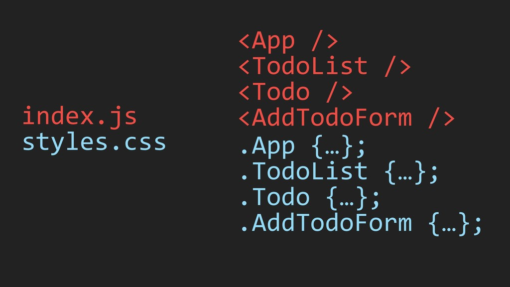 index.js styles.css <App /> <TodoList /> <Todo ...