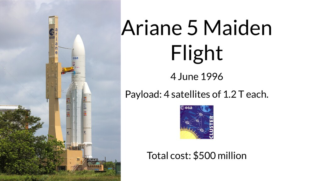 Ariane 5 Maiden Flight 4 June 1996 Payload: 4 s...