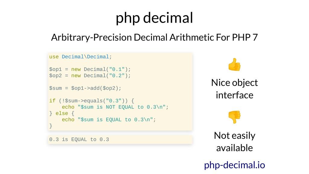 php decimal Arbitrary-Precision Decimal Arithme...