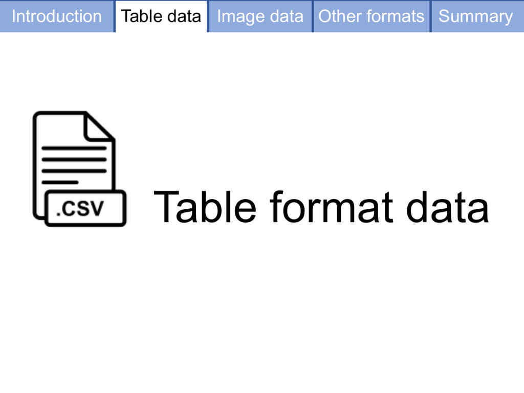 Table format data Table data Image data Other f...