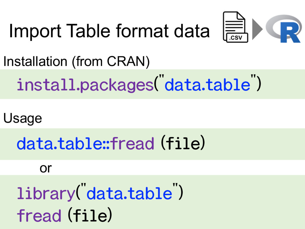 Import Table format data    