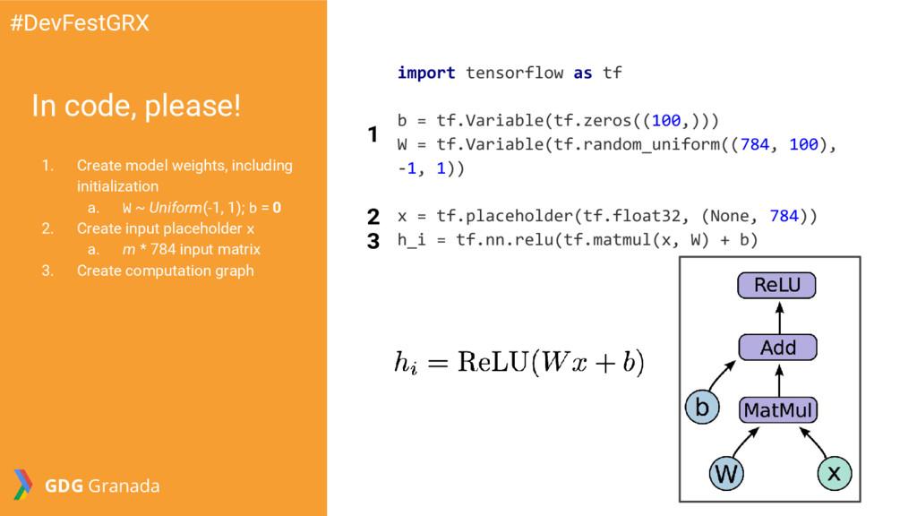 In code, please! 1. Create model weights, inclu...