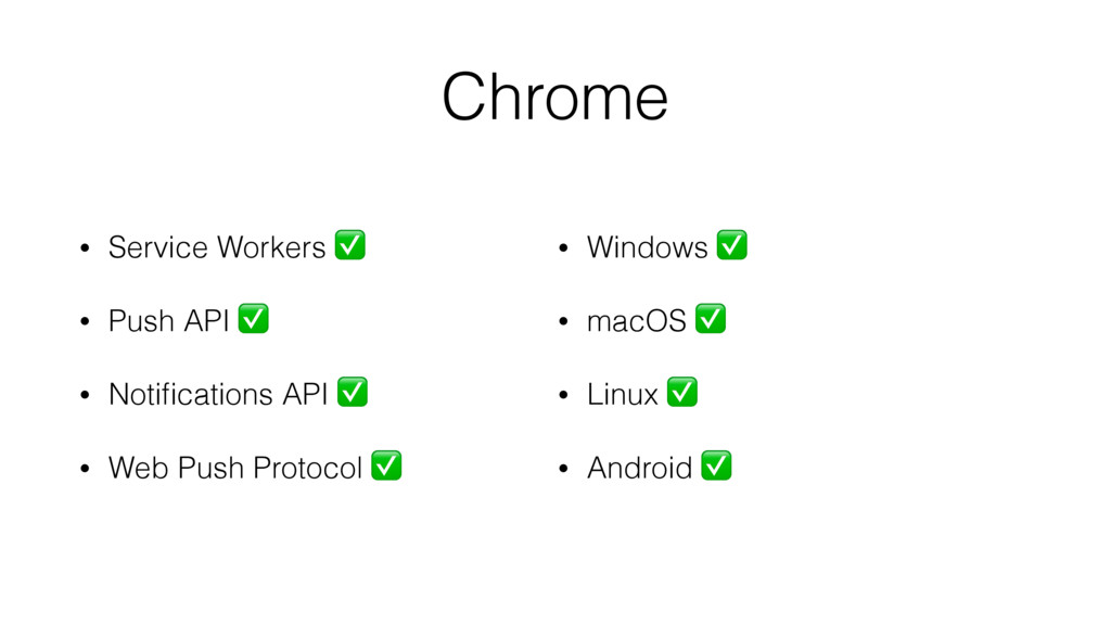 Chrome • Service Workers ✅ • Push API ✅ • Notifi...