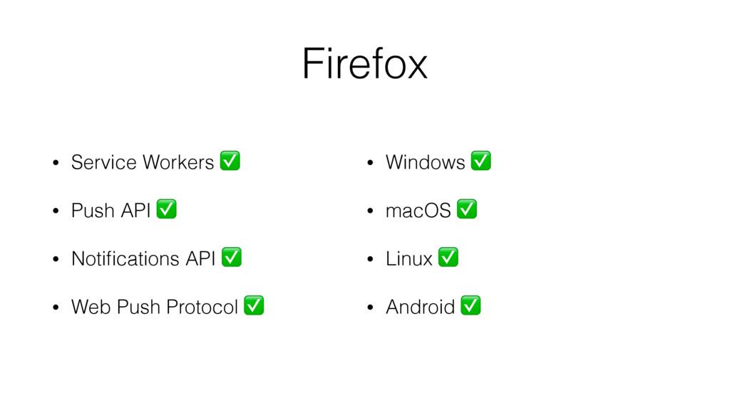 Firefox • Service Workers ✅ • Push API ✅ • Noti...