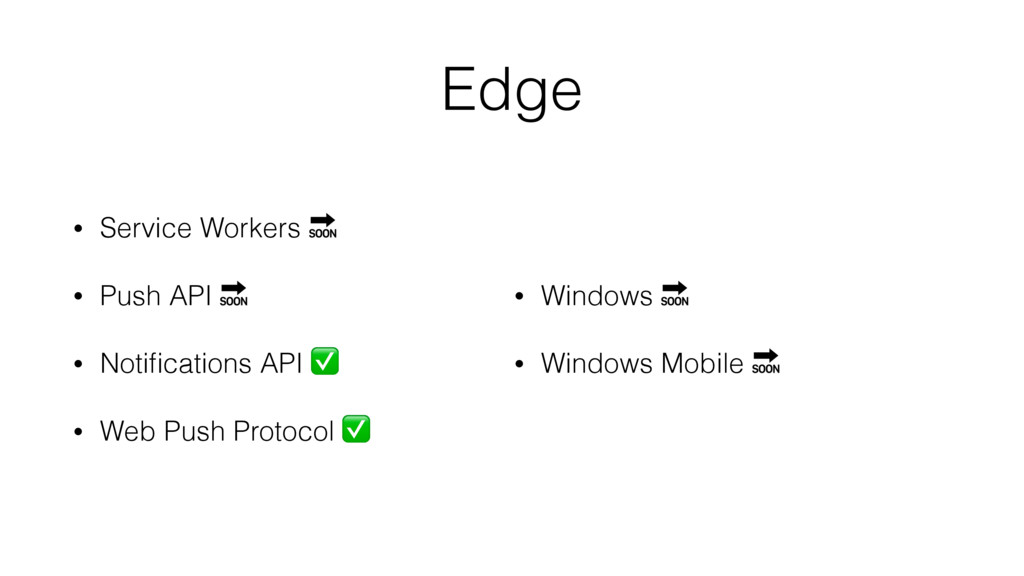 Edge • Service Workers  • Push API  • Notificati...