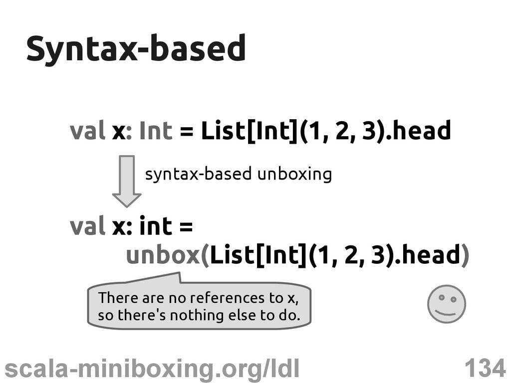 134 scala-miniboxing.org/ldl Syntax-based Synta...
