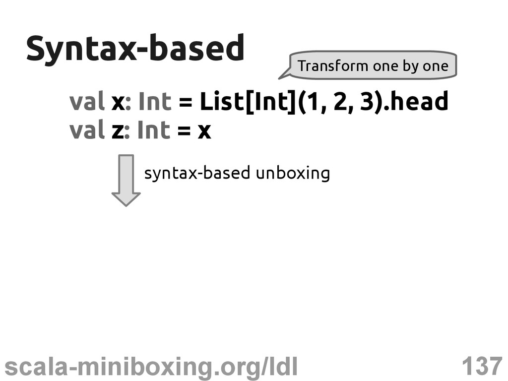 137 scala-miniboxing.org/ldl Syntax-based Synta...