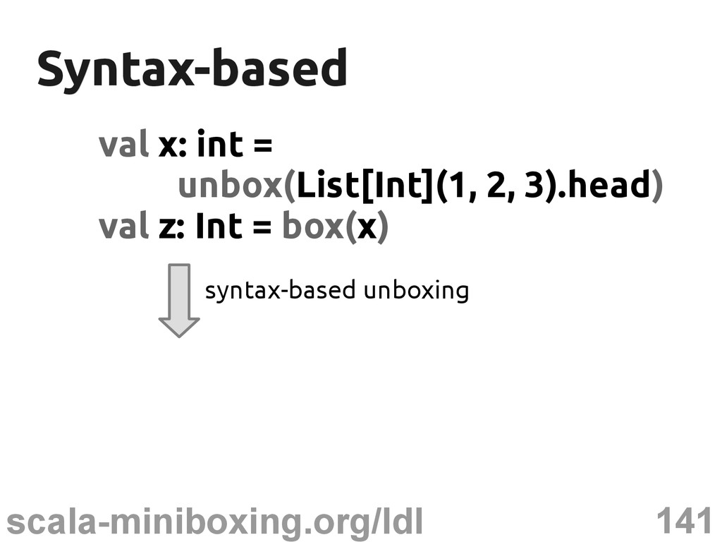 141 scala-miniboxing.org/ldl Syntax-based Synta...