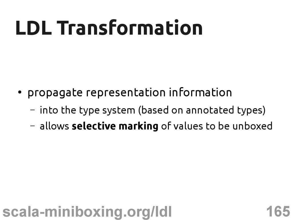 165 scala-miniboxing.org/ldl LDL Transformation...