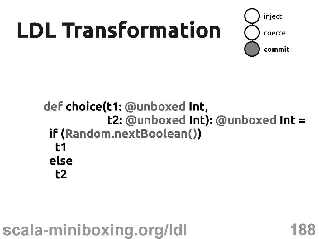 188 scala-miniboxing.org/ldl LDL Transformation...