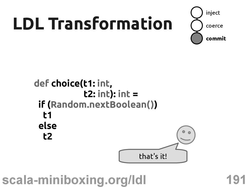 191 scala-miniboxing.org/ldl LDL Transformation...