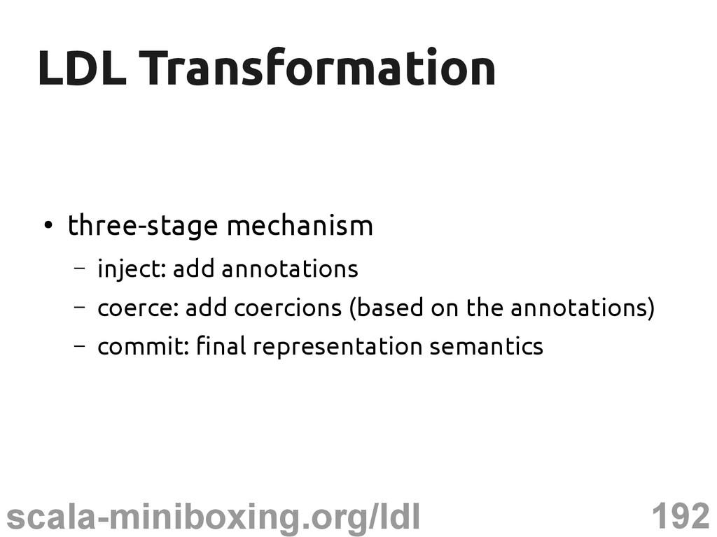 192 scala-miniboxing.org/ldl LDL Transformation...
